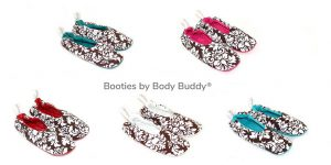 Booties by Body Buddy. Scarlet Red, Teal, Hot Pink, White, Aqua.