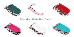 Reversible Mitts by Body Buddy. Teal, White, Cream, Aqua, Scarlet Red, Hot Pink.